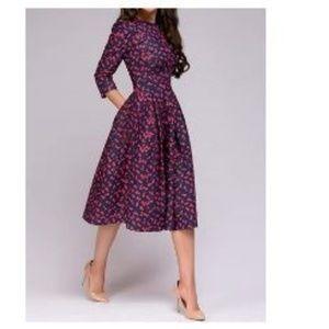 Women's Floral Vintage Elegant Midi Evening Dress